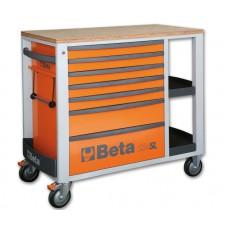 Количка за инструменти Beta C24SL, 7 чекмеджета, плот от дърво