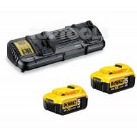 DeWALT Устройство зарядно за две Li-Ion батерии DCB132 + 2 х 18.0V/5Ah батерии